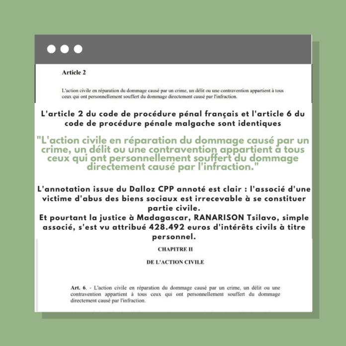 L'article 2 du code de procédure pénal français et l'article 6 du code de procédure pénale malgache sont identiques